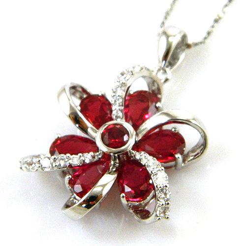 Cercei şi medalion Flower Rubin by Borealy Argint 925 8