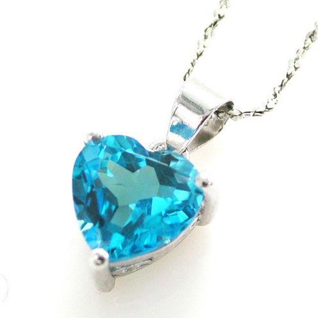 Medalion Topaz Blue Inima pietre pretioase naturale 2 carate-big