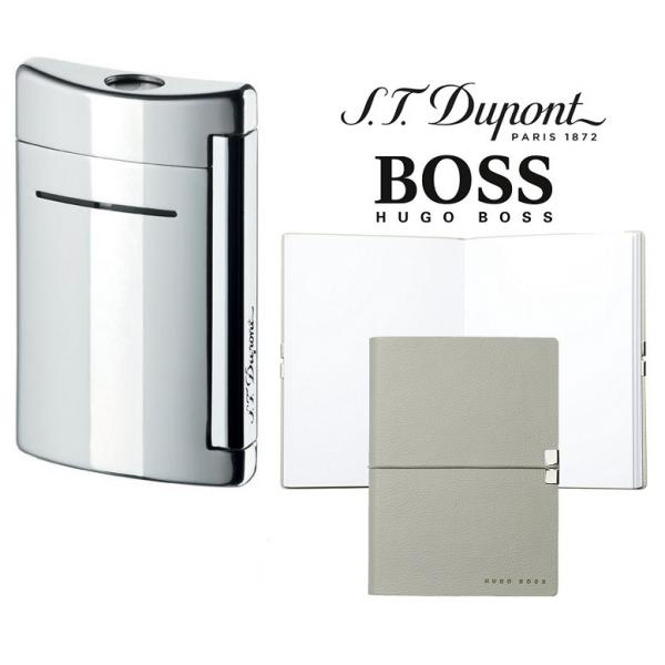 Set Minijet Lighter Silver S.T. Dupont si Note Pad Grey Hugo Boss-big