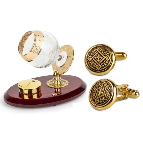 Set Încălzitor de Cognac de Lux by Credan si Butoni Gold Round by Credan 0