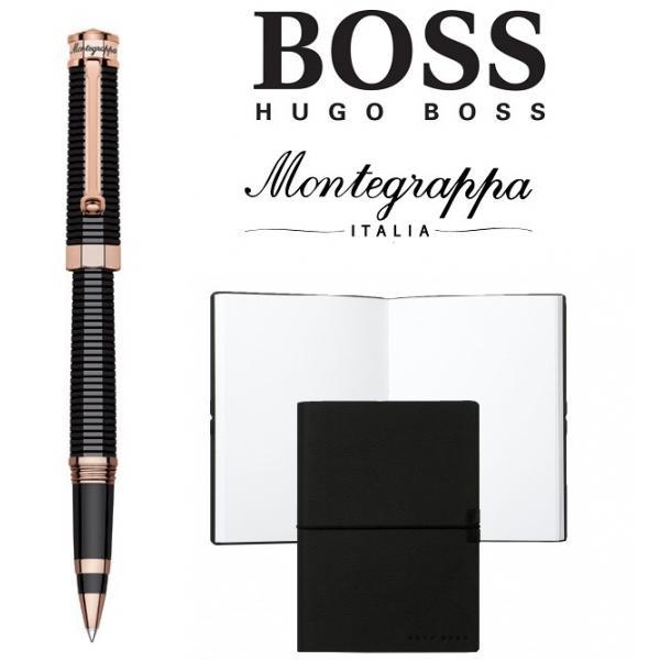 Set Nero Uno Red Gold Rollerball Pen Montegrappa si Note Pad Hugo Boss 0