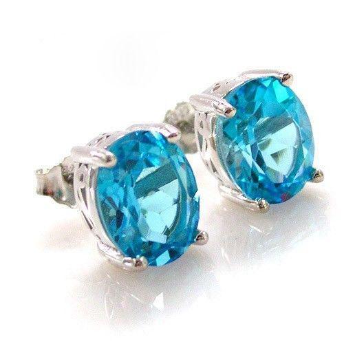 Ocean Blue Topaz Cercei si Colier - Pietre Pretioase Naturale Argint 925 6