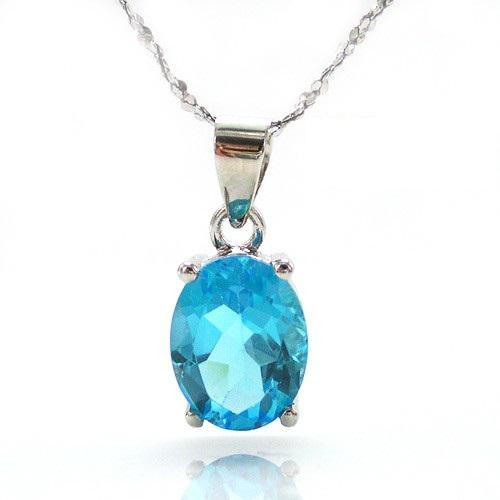 Ocean Blue Topaz Cercei si Colier - Pietre Pretioase Naturale Argint 925 5