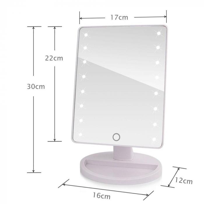 Oglinda Mare cu Leduri si Touch 22 cm, neagra 3