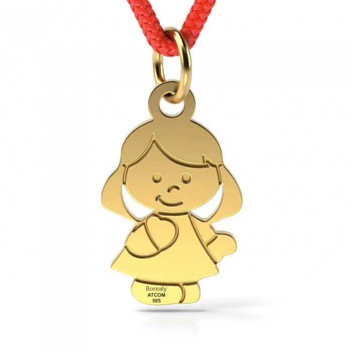Pandantiv Fetita cu Snur reglabil din Aur galben 14 kt personalizabil-big