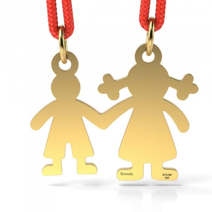 Pandantiv Mama si Baietel cu Snur reglabil din Aur galben 14 kt personalizabil-big