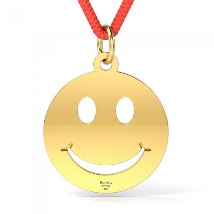 Pandantiv Smiley cu Snur reglabil din Aur galben 14 kt personalizabil-big