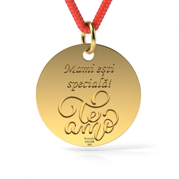 Pandantiv Te Amo cu Snur reglabil din Aur galben 14 kt personalizabil-big