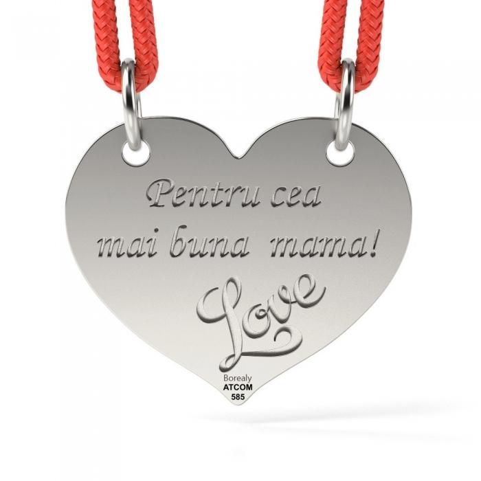 Pandantiv Inimioara cu Snur reglabil din Argint 925 personalizabil-big