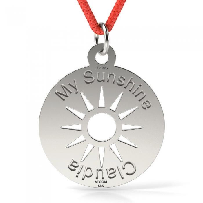 Pandantiv My Sunshine cu Snur reglabil din Argint 925 personalizabil-big