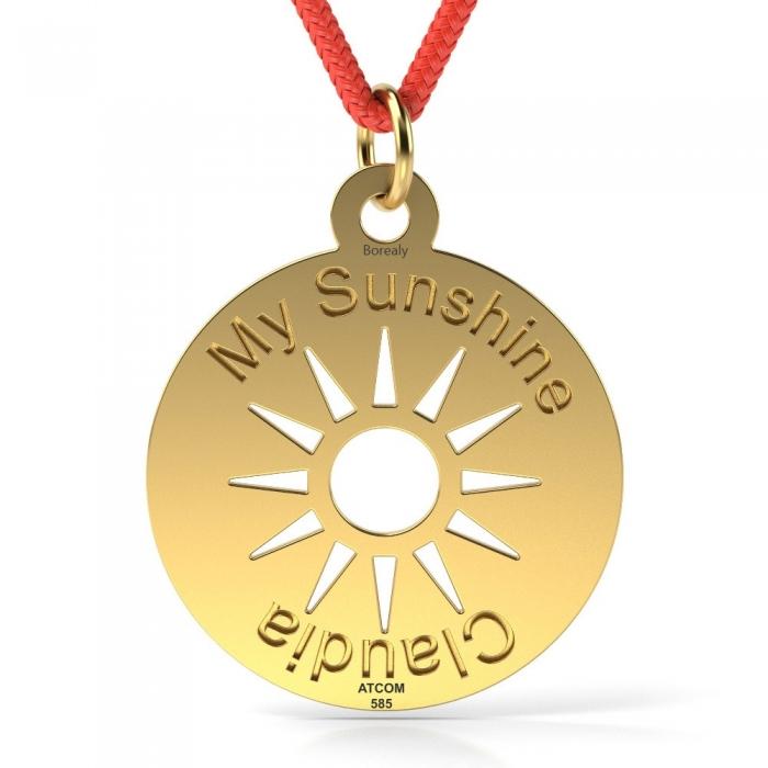 Pandantiv My Sunshine cu Snur reglabil din Aur galben 14 kt personalizabil-big