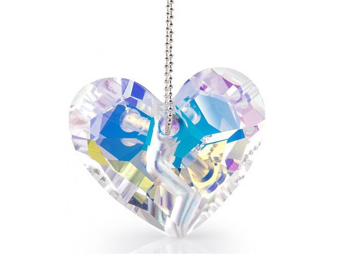 Pandantiv Heart Glimer Lights 36 mm si lantisor Argint 925 Silver Sterling-big