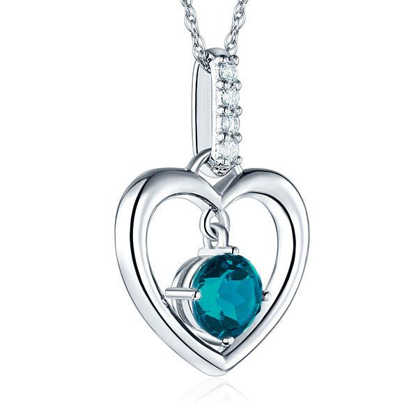 Pandantiv Borealy Aur Alb 14 K Topaz Natural London Blue Heart-big