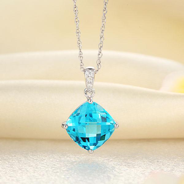 Pandantiv Borealy Aur Alb 14 K 5.8 Ct Swiss Blue Topaz-big