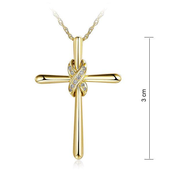 Pandantiv Borealy Aur Galben 14 K 0,04 ct Natural Diamonds Twisted Cross-big
