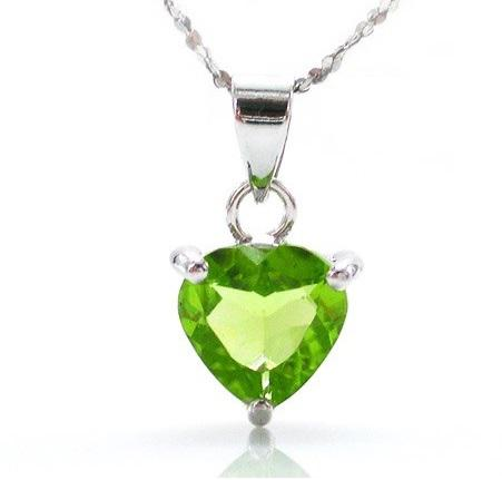 Peridot Natural Ultra Heart 2 carate Colier -Argint 925 0