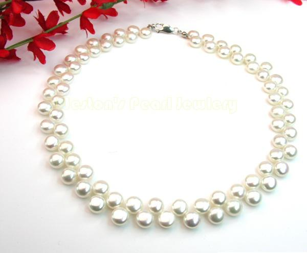 Colier Perle White Naturale de Cultură Button 0