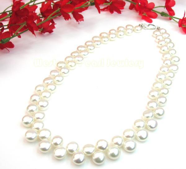Colier Perle White Naturale de Cultură Button 3