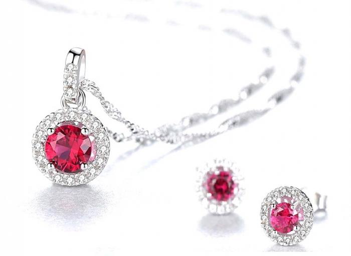 Pink Sapphire Pallace Set Cercei si Colier Argint 925 by Borealy-big
