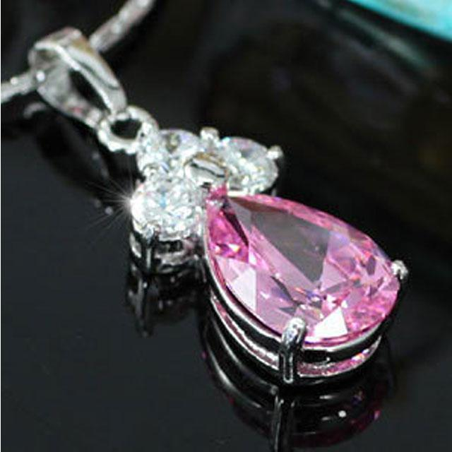 Colier Borealy Simulated Sapphire Drop Pink-big