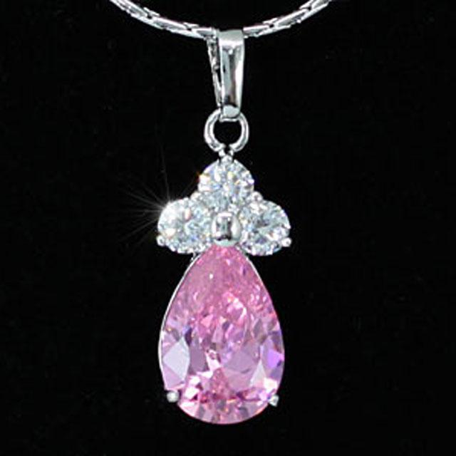 Colier Borealy Simulated Sapphire Drop Pink 2