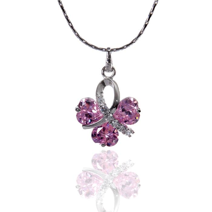 Colier Borealy Simulated Sapphire Pink Love-big