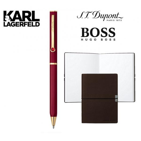 Set Pix DUPONT Lotus Red Lacquer and Gold by Karl Lagerfeld si Note Pad Burgundy Hugo Boss-big