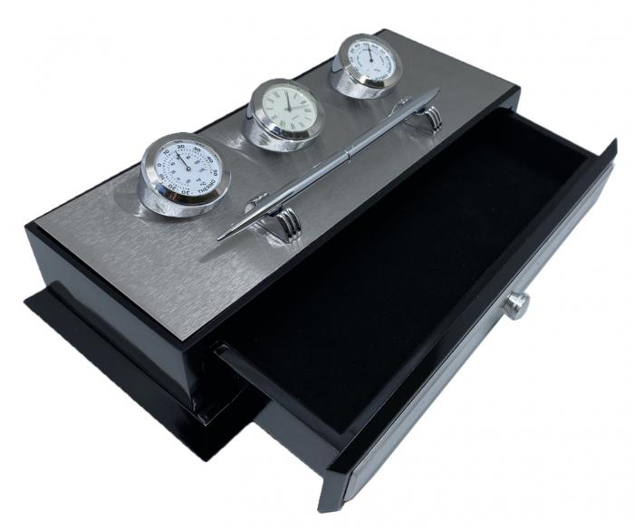 Business Desk Premium Silver - Ceas, Termometru, Higrometru [1]