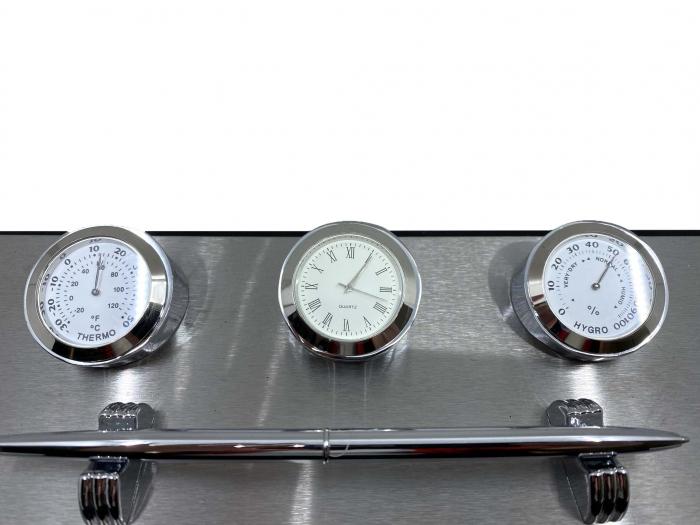 Business Desk Premium Silver - Ceas, Termometru, Higrometru [2]