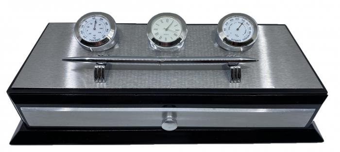 Business Desk Premium Silver - Ceas, Termometru, Higrometru [0]