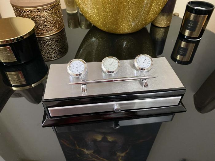 Business Desk Premium Silver - Ceas, Termometru, Higrometru [3]