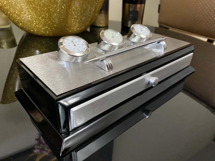 Business Desk Premium Silver - Ceas, Termometru, Higrometru [4]