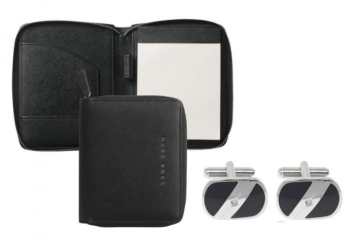 Premium Business Gift Set Mapa Conferinta Hugo Boss A6 si Butoni Tourbillon Silver 0