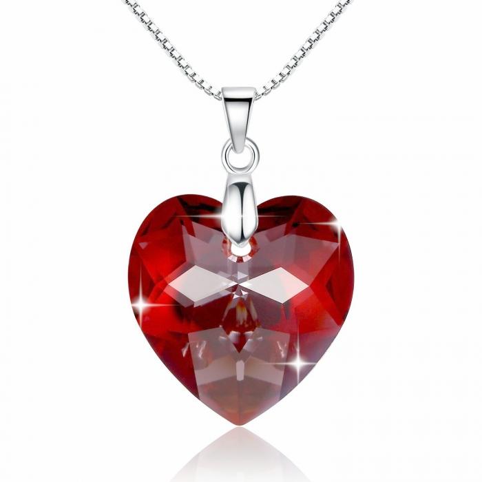 Red Heart Swarovski  & Lantisor Argint 925 0