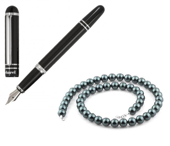 Stilou Cacharel Dandy si Colier Perle Negre Caviar Naturale de Cultura-big