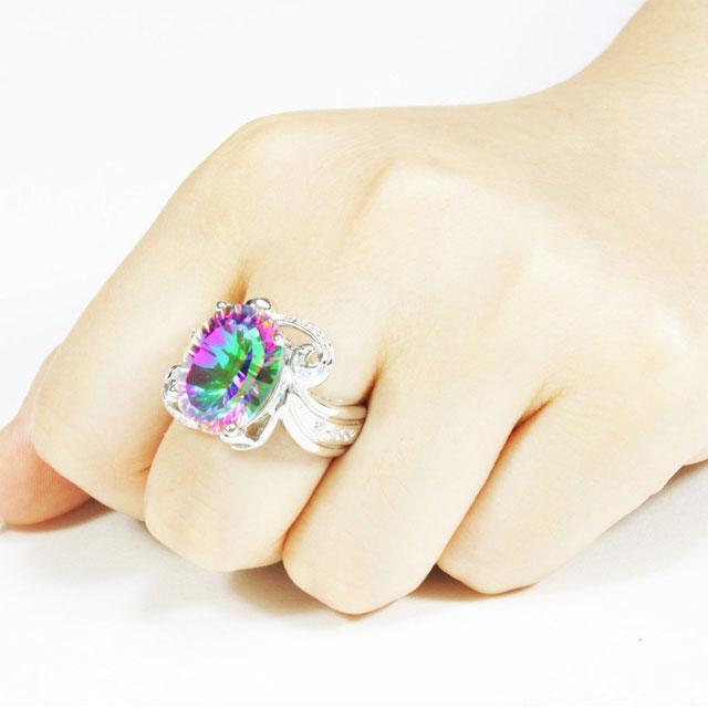 Inel Amazing Fire Rainbow Topaz Mistic 8 carate Argint 925 marimea 7 2