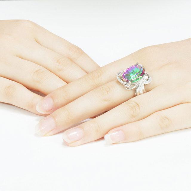Inel Amazing Fire Rainbow Topaz Mistic 8 carate Argint 925 marimea 7 4