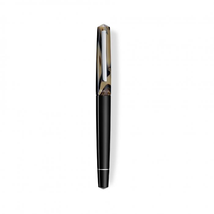 Stilou Infrangibile, Tibaldi, din rasina corp negru - capac gri taupe cu finisaj din otel inoxidabil 1