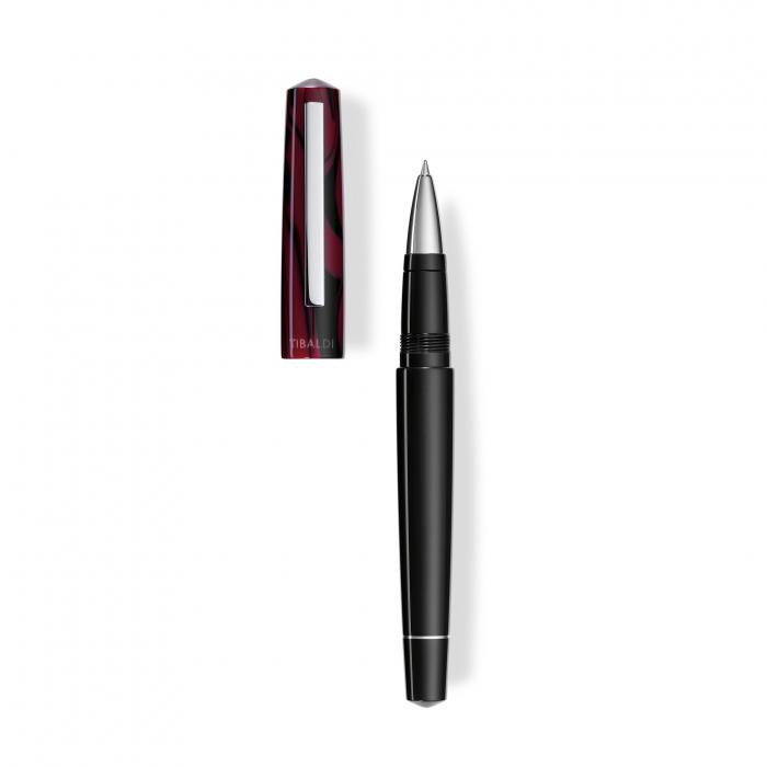 Roller Infrangibile, Tibaldi, din rasina corp negru - capac  rosu mov, cu finisaj din otel inoxidabil 0