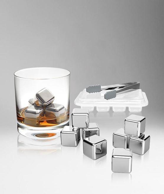 Round Cooling Cubes - Cuburi otel pentru racire bauturi si cleste otel [1]