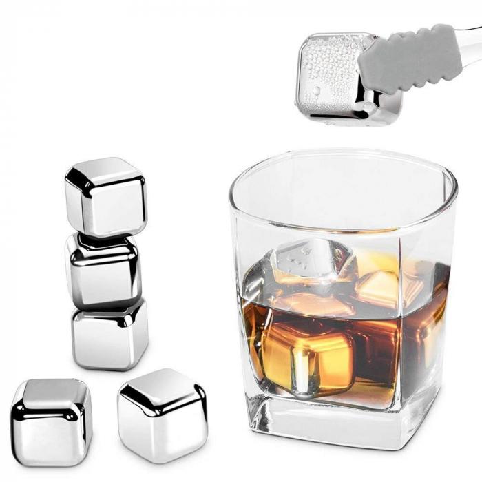 Round Cooling Cubes - Cuburi otel pentru racire bauturi si cleste otel [3]