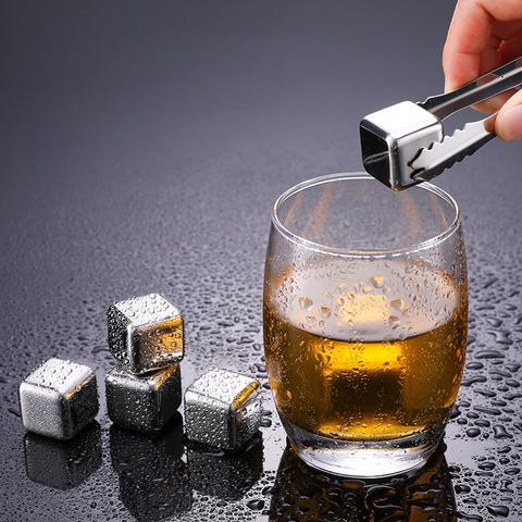 Round Cooling Cubes - Cuburi otel pentru racire bauturi si cleste otel [4]