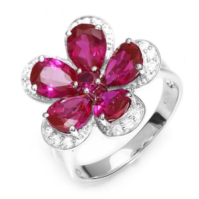 Inel Borealy Rubin Flowers 4 carate & Silver 925 Marimea 7 0