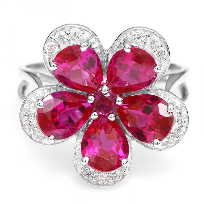 Inel Borealy Rubin Flowers 4 carate & Silver 925 Marimea 7 1