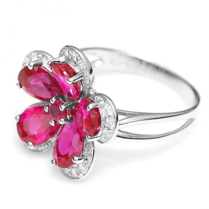 Inel Borealy Rubin Flowers 4 carate & Silver 925 Marimea 7-big