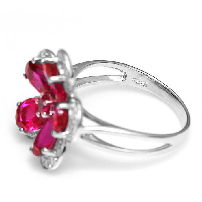 Inel Borealy Rubin Flowers 4 carate & Silver 925 Marimea 7 2
