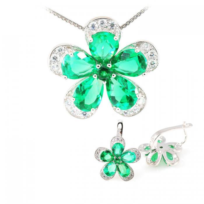 Russian Smarald Flowers Colier şi Cercei 10 carate & Silver 925 5