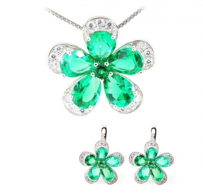 Russian Smarald Flowers Colier şi Cercei 10 carate & Silver 925 0