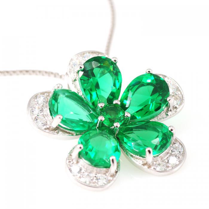 Russian Smarald Flowers Colier şi Cercei 10 carate & Silver 925 1