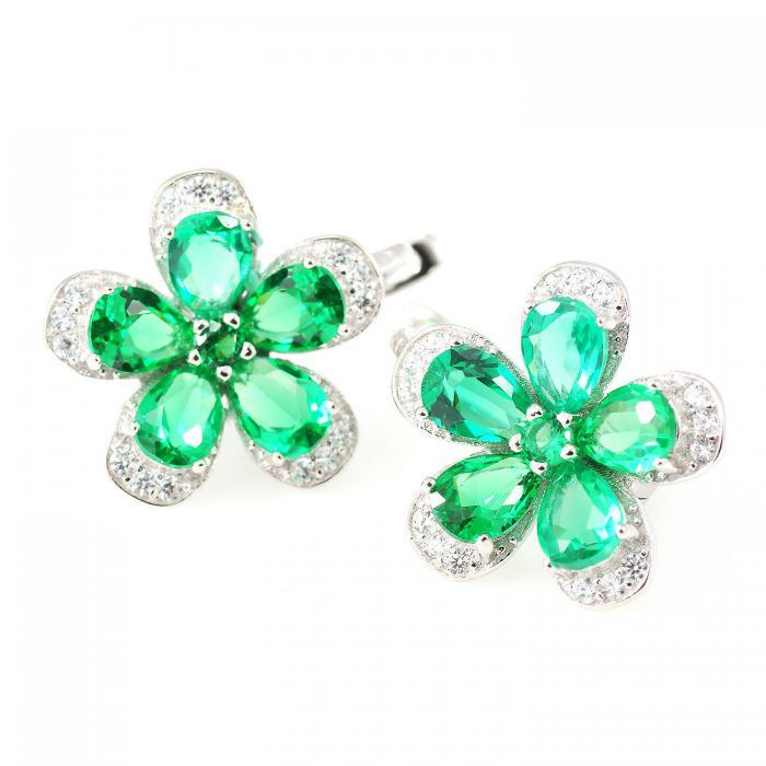 Russian Smarald Flowers Colier şi Cercei 10 carate & Silver 925 3